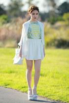 white Jeffrey Campbell wedges - geometric Sheinside dress - Choies bag