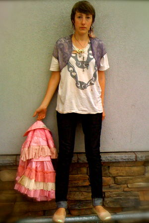 black Levis jeans - white unknown t-shirt - purple vintage vest - pink made in c