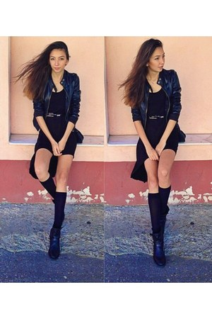black leather short unknown boots - black Soho dress