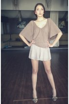 beige large pants tezenis skirt - light brown Bershka blouse