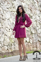 magenta Love dress - BLANCO boots - DIY necklace