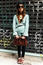 turquoise blue hm sweater - black hm jeans - brown Zara shoes - BLANCO purse - t