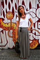 gray Zara skirt - white Zara shirt - black vintage bag - silver Sfera necklace -