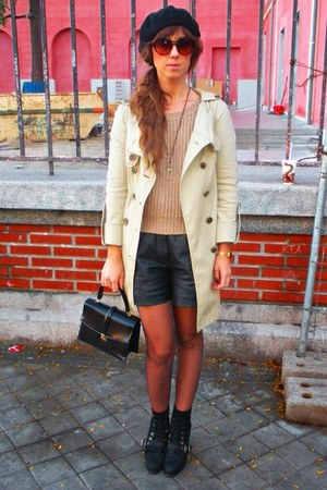 black vintage shorts - camel vintage coat - camel Zara cardigan - black Zara boo