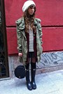 Zara-coat-sfera-vest-mango-shirt-zara-skirt-hunter-boots-mango-bag