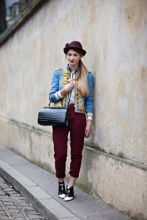 sky blue blazer - black bag - crimson pants