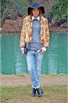 banana republic jacket - fabric scrap boots - JCrew jeans - vintage hat