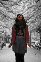 H&M scarf - local brand boots - Disney t-shirt - H&M skirt - Mango bracelet