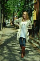 beige H&M - white H&M shirt - brown Target boots