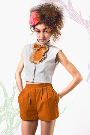 burnt orange fitted crowned bird shorts - burnt orange bow crowned bird necklace