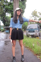 black Forever21 boots - nude Secondhand hat - blue denim vintage shirt