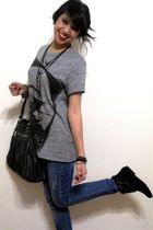 Zara shirt - gray Aldo purse - black Bakers boots