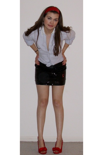 abercrombie and fitch shirt - sequin mini Express skirt - accessories