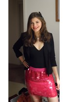 hot pink skirt - black blazer - black top - turquoise blue accessories