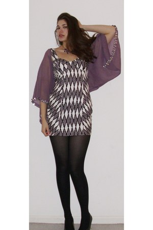 puce tramp cape - white asos dress - black tights - black heels