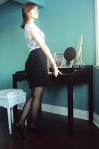 white shirt - black skirt - black tights - black shoes