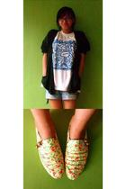 funny floral shoes shoes - oversized cardigan sweater - Tacloban shirt - thifted