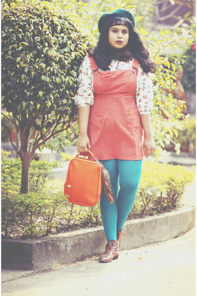 salmon asoscom dress - brown vintage boots - forest green asoscom hat
