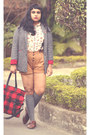 Dark-gray-boucle-blazer-choiescom-blazer-ruby-red-tartan-shopper-pull-bear-bag