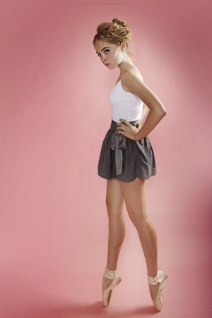 pink pointe shoes Grishko shoes - white  intimate - gray BCBG skirt