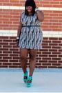 Black-wildlife-sonsi-dress-aquamarine-shoe-dazzle-shoes-blue-eloquii-blazer