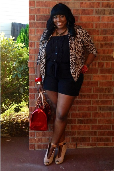 black torrid romper - red Michael Kors bag - tan Versona Accessories cardigan