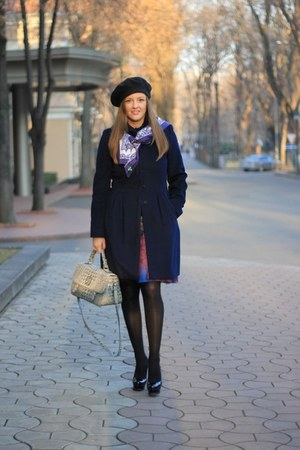 blue Paola Frani skirt - YSL shoes - navy Iblues coat