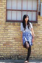 blue Target dress - gray Walmart t-shirt - brown Ebay shoes - beige Forever 21 p