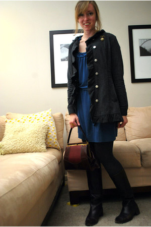 dark gray Stella Starr jacket - blue banana republic dress - crimson life stride