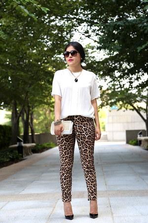 Zara bag - Zara pants - Christian Louboutin heels - vintage blouse