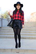 Zara bag - sam edelman boots - Zara shorts - vintage blouse