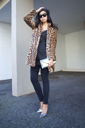 bronze Zara coat - black lace slip Zara dress - black 8 jeans Blk Dnm jeans
