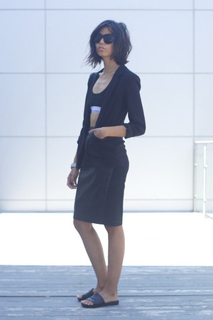 loose Babaton blazer - racer back calvin klein bra - leather andy the-ahn skirt