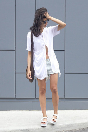 white monk cyeoms shirt - dark brown donna Alexander Wang bag