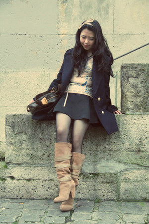 black Wolford stockings - tan Zara boots - navy Zara coat