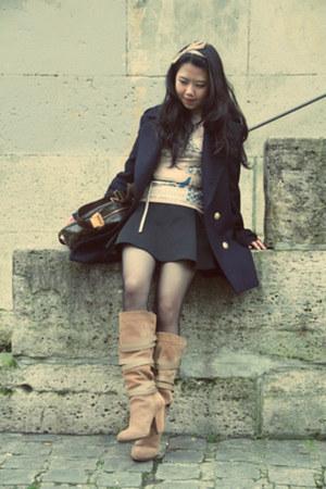 black Wolford stockings - tan Zara boots - navy Zara coat