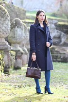 navy wool Max & Co coat - dark brown snakeskin vintage bag
