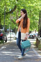light orange cotton Zara coat - eggshell leather Studio Pollini shoes