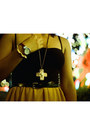 Yellow-mullet-dress-yellow-chain-bracelet-gold-cross-necklace