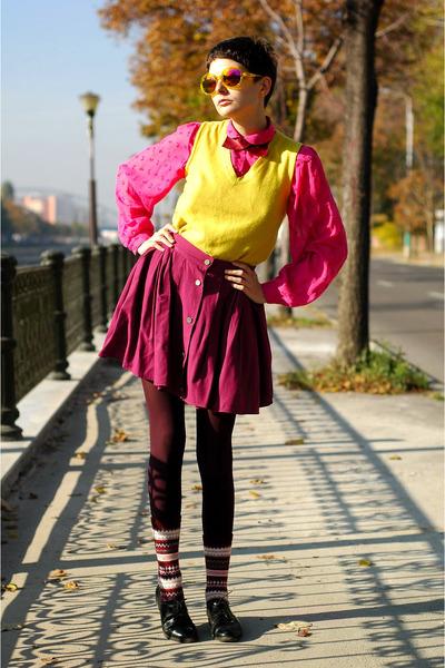 hot pink thrifted shirt - maroon H&M socks - yellow H&M sunglasses