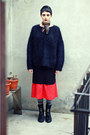 Black-zara-boots-black-thrifted-jumper-red-thrifted-skirt