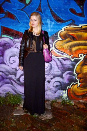 black Norma Kamali dress - black Express jacket - gold vintage necklace - green 