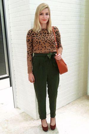 beige Zara sweater - green asos pants - brown seychelles shoes - brown aigner ba