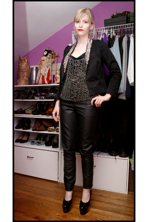 DIY blazer - Cheap Monday intimate - vintage shirt - Topshop pants - shoes