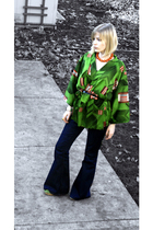 green kimono vintage top - green franco sarto shoes - blue 1974 bell Levis jeans