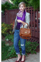 gray Norma Kamali blazer - purple russian scarf - blue Levis jeans - brown coach