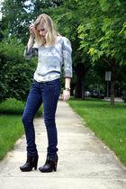 blue Levis jeans - black sam edelman boots - blue no brand blouse - silver Targe