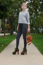 gray f21 sweater - gray Forever 21 pants - green Jeffrey Campbell shoes - brown