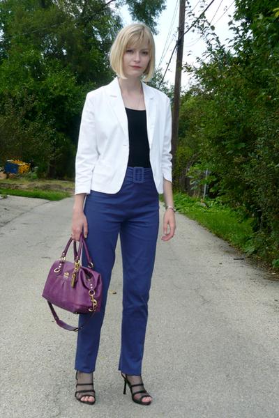 vintage blazer - Anthropologie top - Missoni pants - coach accessories