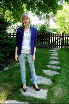 Norma Kamali blazer - Urban Outfitters top - necklace - Gap jeans - seychelles s